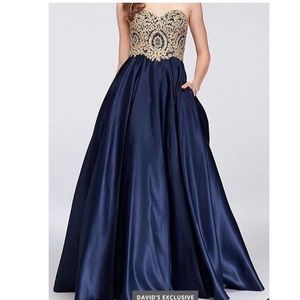 GORGEOUS Blue and Gold Gown With Pockets